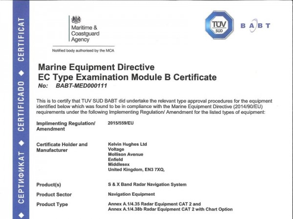 Kelvin Hughes New X and S band RADAR Type approved Certificate with Chart Option